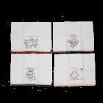 Kit com 4 panos de prato bordados – estampas e cores sortidas